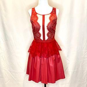 BCBG Dark Poppy Layton Lace and Faux Leather Dress